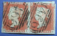 1841 GREAT BRITAIN 1d SCOTT# 3 S.G.# 10 USED PAIR LIVERPOOL POSTMARK     CS16009