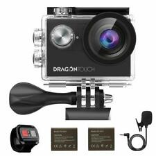 New Dragon Touch 4K HD Vision 4 Action Camera Cam 16MP Wifi w/ Touch Screen +Mic