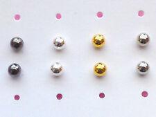 Edelstahl 4mm Kugel Ohrstecker Unisex Ohrringe Ohrschmuck 4 Farben Farbwahl