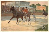 Continental Sulky Reifen Tires Harness Horse Racing Motif c1910 Postcard gfz