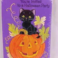 Vintage AG Halloween Party Invitations Black on Cat Pumpkin 8 Ct