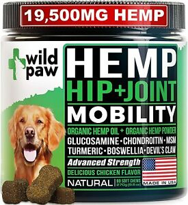 WILDPAW Organic Hemp Treats with Glucosamine for Dogs - Hip & Joint Support Supp