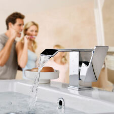 Waterfall Spout Bathroom Chrome Vessel Mixer Tap Basin Sink Faucet Deck Mounted