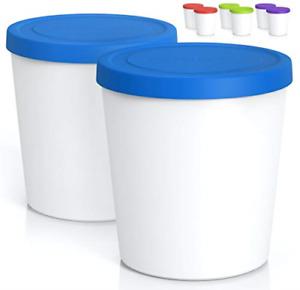 BALCI - Premium Ice Cream Containers 2 Pack - 1 Quart Each Perfect Freezer Tubs