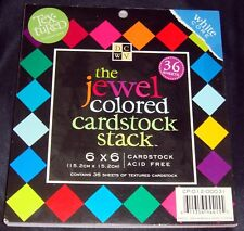 """DCWV Jewel Colored Cardstock Paper Pad 36 Textured Sheets White Core 6"""" x 6"""""""