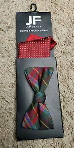 J Ferrar Mens Bow Tie & Pocket Square Set Red Polka Dot & Holiday Plaid NWT