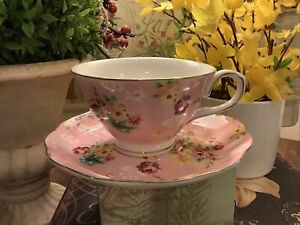 Pink Chintz~Tea Cup & Saucer~Grace Tea Ware~Full Size~Cottage/French~FREE SHIP~