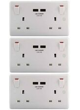 British General Masterplug 13a Double Switched Socket With 2 X USB Charger Ports
