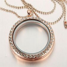 Charm Living Memory Floating Charm Crystal Glass Round Locket Pendant Necklace