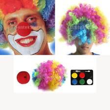 Kit Accessore Déguisement Clown Perruque Multicolore+Nez Rouge+ Maquillage