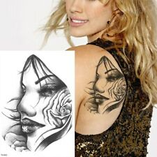 Lady Face with Rose Waterproof Temporary Tattoo Sticker *UK SELLER* /-m377-/