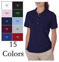 JERZEES  Women's Short Sleeve Polo Shirt Top 50/50 w/ SpotShield tee S-2XL