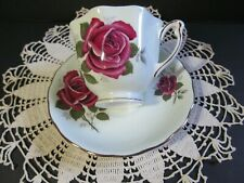 Vintage COLCLOUGH Bone China Tea Cup & Saucer Red Roses Pattern England