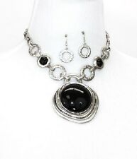 Antique Silver and Black FASHION Necklace Set