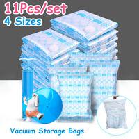 10Pcs Vacuum Storage Bags Travel Space Saver Hand Pump Garment Clothes Seal Bags