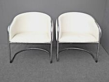 Pair Vintage Contemporary Mid Century Chrome Cantilever White Club Chairs