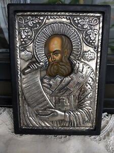 Griechische Ikone Heiligen Athanasios mit Silber 950 Oklad