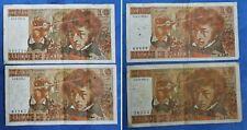 Lot : 4 billets usés - 10 Francs Berlioz - N° Série à identifier...