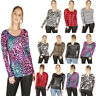 BASIC CASUAL WOMENS LADIES AZTEC LEOPARD PRINT LONG SLEEVE TOP T SHIRT SIZE 8-22