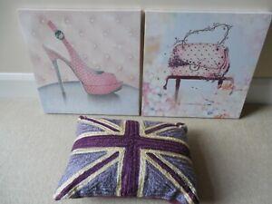 Job Lot, Girls Bedroom Décor: Glitzy Canvas Poster & Purple Union Jack Cushion