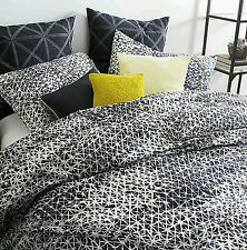 7Pc DKNY Gridlock Navy White Queen/Full Comforter Set Cotton