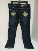 Rue 21 Premiere Junior Size 13/14 Bling Denim Blue Skinny Jeans