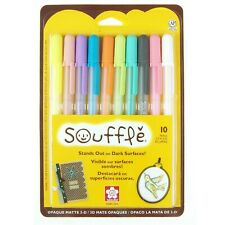 58350 Sakura Gelly Roll Souffle Opaque Puffy Ink Pens, Set of 10 Assorted Colors