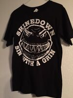 Shinedown Sin With A Grin Graphic Short Sleeve T-shirt Black Anvil Small