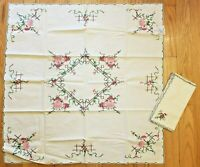 "Vintage Set 6 Linen Napkins, Small Table Tea Cloth 33"" x 34"" Floral Embroidery"