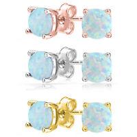 Elegant .925 Sterling Silver 6mm Round Synthetic Fiery Opal Stud Earrings