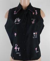 Silkland Women's Sz. 6 Black Shirt Cocktails Sleeveless Button Down Novelty Fun