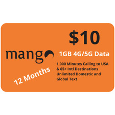 New listing Mango Mobile $10 Plan 1Gb 4G Lte Data Unlimited Text 1000 Minutes 12 Months Sim