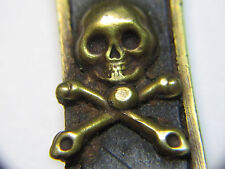† HTF SCARCE HUGE ANTIQUE NUN'S VOW 4 NAIL SMILING SKULL BONES EBONY CRUCIFIX †