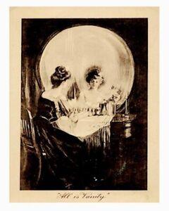 "Halloween ""All Is Vanity"" Victorian Lady Skull Mirror Gloss Print Of Antique Art"