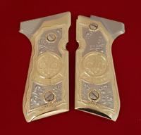 Custom Beretta GRIPS 92/96 Series Pistols 92F, 92FS, M9, 96 Nickel Gold
