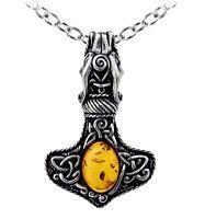 Alchemy Gothic Amber Dragon Thorhammer Viking Pendant Necklace