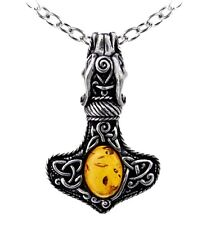 Alchemy Gothic AMBRA Dragon Thorhammer Vichingo Ciondolo Collana