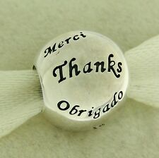 Authentic Pandora 791276 Many Thanks Sterling Silver Bead Charm