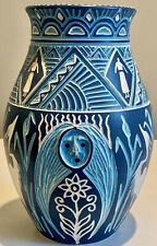 STUNNING Talking Earth Pottery Steve T. Smith STS 6-837, Signed Original Vase