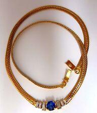 2.30ct natural sapphire diamonds necklace herring bone 14kt vivid blue +