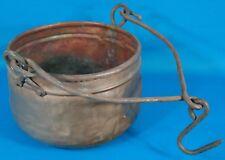 "Antique Copper Pot w/ Hanging Handle 8 3/4"" Diameter"