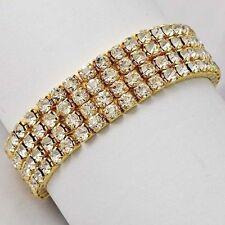 Womens 9k Gold Filled 4 Row Clean Rhinestone Stretch Tennis Bracelet Gifts