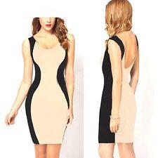 Para mujer estilo celebridad Body-con contraste, Vestido Negro deslamado equipado con empalmes