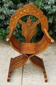 Syrian Teak Wood Folding Savonarola Chair Brass Inlaid Middle Eastern Islamic