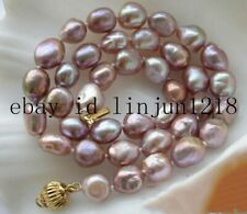 Natural 8-9mm Lavender Baroque Freshwater Pearl Necklace 18''