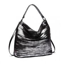 Women Hobo Tote Bag Ladies Metallic Shoulder Handbag Slouch Bags Black Tassel