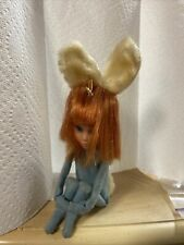 "1966 Kamar Knee Hugger Doll ""Edy"" Blue Playboy Bunny Made In Japan Tag Vintage"