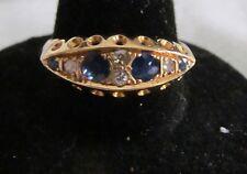 Fine ATQ 18K Gold Art Deco 3-Stone Panel Ring w/Rose Head Sapphires & Diamond