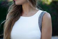 ZARA White Beaded Tube Bodycon Mini Dress Bloggers Fave Size S fits 8 - small 10