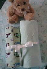 Hand made x 2 baby swaddling wrap,rug,blanket cotton flanellette 0-12 mths